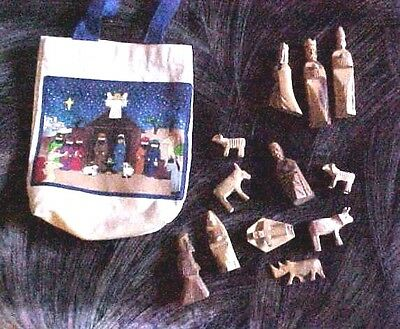 Lot of 13 Vintage Miniature Wooden Nativity Christmas Figurines & Tote Bag