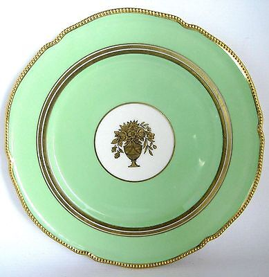 Vintage Castleton China (USA) Belmont Dinner Plate Green Gold Trim Vase Center
