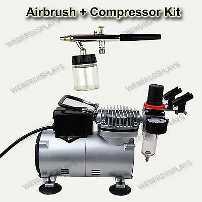 Dual Action Airbrush With 22 cc Jar + Air Compressor Set ART PAINT NAIL TATTOO