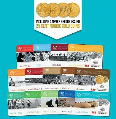 2016 Anzac to Afghanistan War Coin Series - Set of 14 - Includes 25c Coins