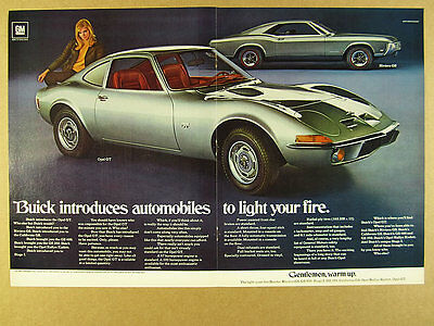1969 Buick Opel GT & Riviera GS silver cars color photo vintage print Ad