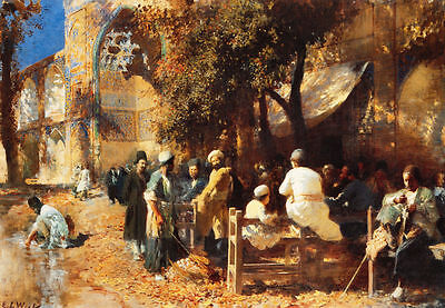 Custom Oil Painting repro Edwin Lord Weeks A Persian Cafe 36''x48''