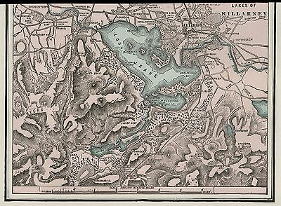 Killarney Ireland & Lakes Map: Authetic 1899 Detailed but SMALL