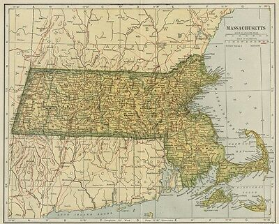 MASSACHUSETTS Map: 100 Years Old showing Counties, Towns, Topography, Railroads
