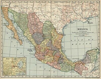 Mexico Map: Authentic 1903 (Dated) Cities, Towns, RRs with Mexico City Inset