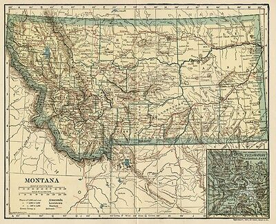 MONTANA Map: Authentic 1907 (dated) with Counties, Towns, Topography, Railroads