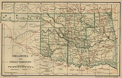 Oklahoma & Indian Territory SMALL Map: Dated 1891; Tribes, Towns 1890 Population