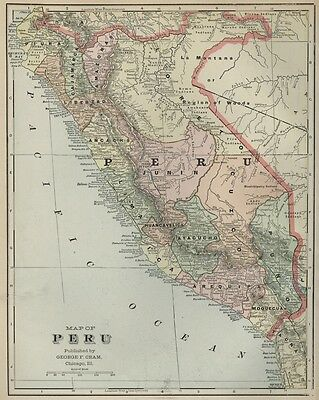 PERU Map: Authentic 1899; with Cities; Towns; RRs, Topography