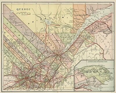Quebec Province Canada Map: 1891 / Counties, Towns, Rivers, RRs, Topography