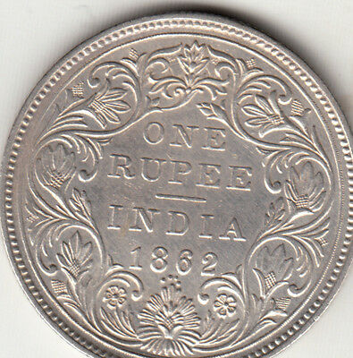 1862 British India Queen Victoria One Rupee Silver Coin With 4 Dots Lot Bx4