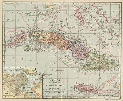 Cuba & Jamaica Map; Authentic 1907 (Dated) Cities, Ports, Sea Lanes, Topo, RRs