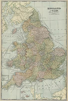 ENGLAND & WALES Map: Authentic 1899 / Cities; Towns; Railroads, Topography