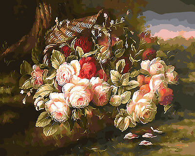 Painting by Number kit A Basket of Flowers Roses Floral Nice Life Plant BB7670