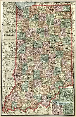 INDIANA Map: Authentic 1899; Counties, Cities, Towns, Railroads, Topog