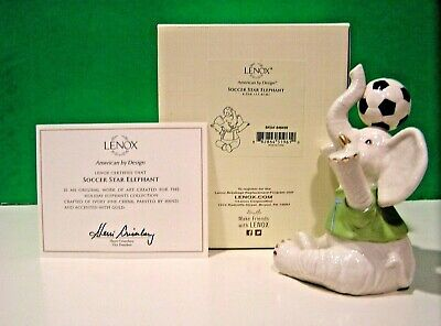 LENOX SOCCEER STAR ELEPHANT sculpture NEW in BOX with COA