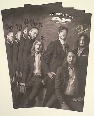 Of Mice And Men band all 5 REAL hand SIGNED 11x17 Alt Press poster + Magazine