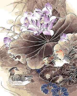 Painting by Number kit Two Mandarin Ducks In Lotuses Pool Good Fortune BB7674