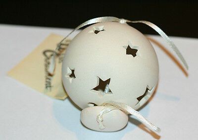 "Christmas ""wish Ornament"" Hollow Round Unglazed Ceramic With Star Cutouts Nib"