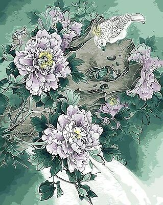 Framed Painting by Number kit Peonies Good Fortune FLowers Floral Bird BB7675