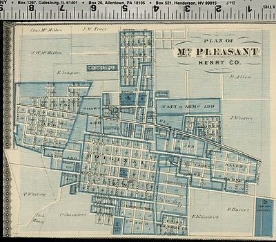 Mount Pleasant Iowa Street Map /Plan (Henry County) Authentic 1875 Item