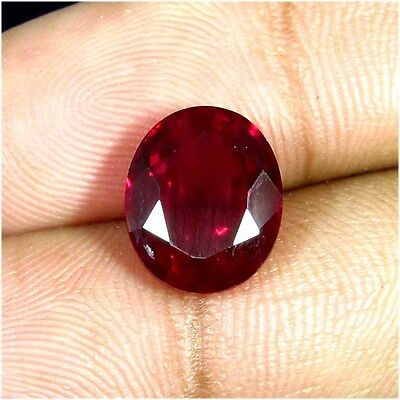 7.25 CTS. Natural Mozambique Pigeon Blood Red Ruby Faceted Oval Cut Gemstone