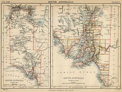 South Australia: Authentic 1889 Map showing Towns; Rivers; Topography +