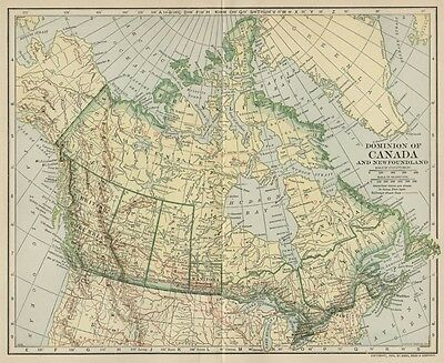 Canada Dominion Map; Authentic 1906 (Dated) Provinces, Cities, Topography, RRs