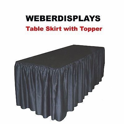 Shirred Fitted Table Skirt with Topper for 6 Ft L X 30 in D X 29 in H Table Blac