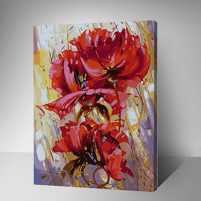 Painting by Number kit Red Flowers FLoral Abstract Peonies Nice Life DIY YZ7509