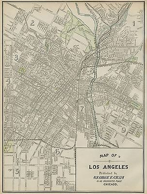 Los Angeles California Street Map: Authentic 1899; / Landmarks, Stations +