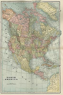 North America Map: Authentic 1899: Large and Detailed showing Indian Territory