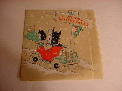 Vintage 1930s CHRISTMAS Folder Card w/SCOTTISH TERRIER Driving Old-Fashioned Car