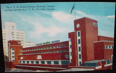 CNR Central Station Montreal Railways Postcard Train