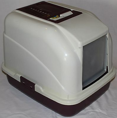 Kitty Litter Tray Maroon ~ NEW Cat pan box with Hood and Flap Door