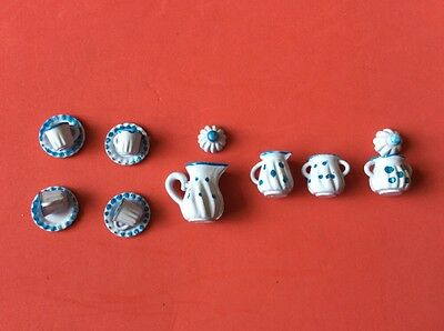 Doll's Teaset.  14 piece  metal. white with blue spots  tallest item 2cm