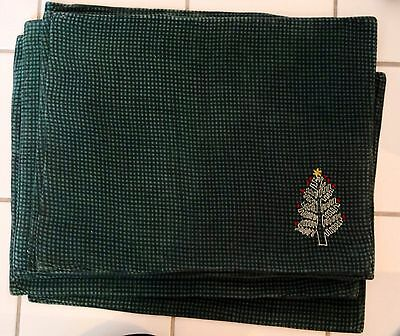 Vintage 6 Christmas Cotton Placemats Green Check Embroidered Tree Tag Brand