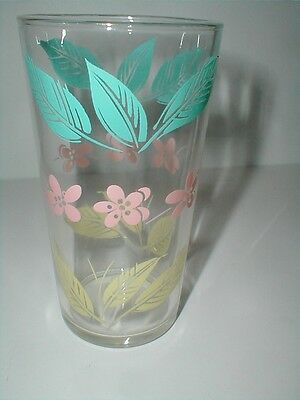 Turquoise Blue/Yellow Beige Leaves, Pink Flowers Glass Tumbler - Salem Biscayne