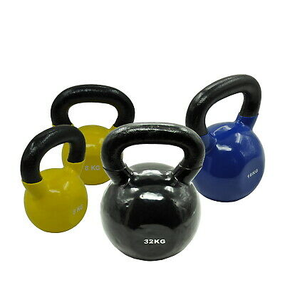 8KGx2 + 16KG + 32KG = TOTAL 64KG IRON VINYL KETTLEBELL WEIGHT STRENGTH TRAINING