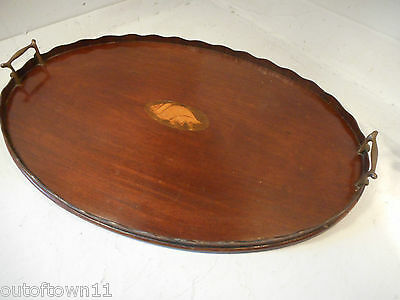 Antique Mahogany inlaid Tray  ,      ref 1513