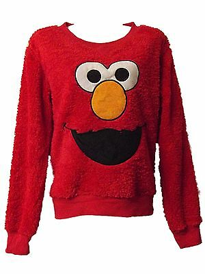New Ladies Girls Ex Store Elmo Christmas Red Soft Snuggle Fleece Jumper Sz 6- 20