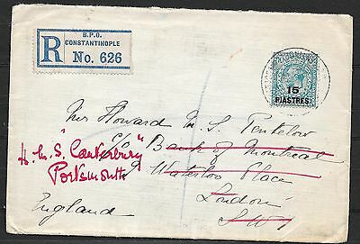 British Levant covers 1922 R-Wandercover Constantinople to UK