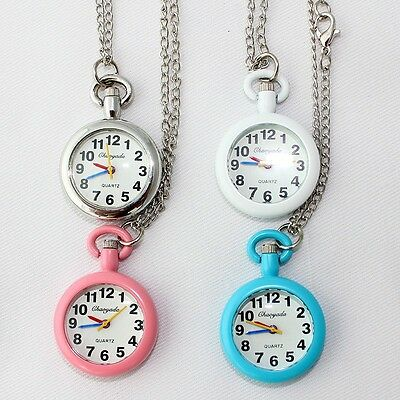 10pcs Mixed Color Pocket Watch Key Ring Necklace Quartz Watch Party Gift GL53MT