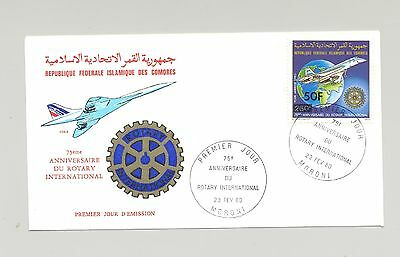Comoros 1980 Concorde, Rotary, Maps 1v 50f Surcharge on FDC