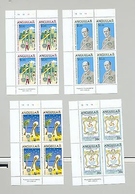 Anguilla 2005 Rotary, Children, Pelican, Birds 4v Cylinder Blocks of 4