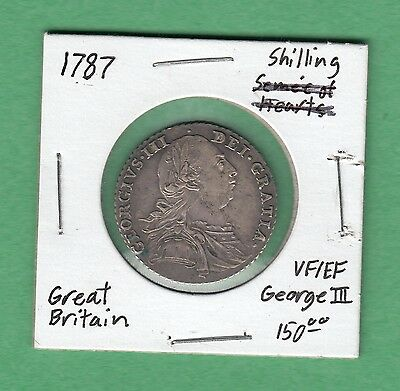 1787 Great Britain Shilling Silver Coin -NO Semee of Hearts - George III - VF/EF