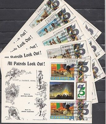 + Lesotho, Scott cat. 357-361. Scout Anniv. issue G-Pairs on 5 First day Cards.