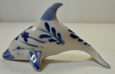 White and Blue Hand Painted Dolphin Figure