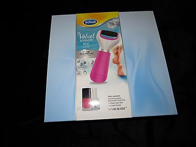 New Boxed Scholl Velvet Smooth Pedi Foot File Gift Set With Diamond Crystals