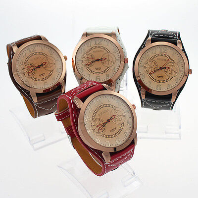 Bulk 4PCS Lady Leather Strap Larger Dial Fashion Quartz Wristwatches U2M