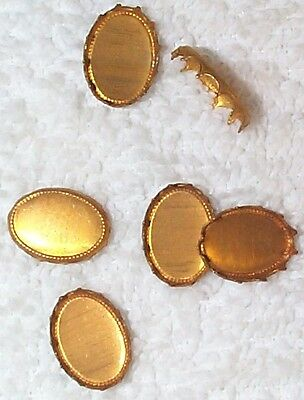 Vintage Flat Back Oval Brass Settings Mounting Findings  22 Pcs